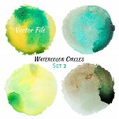 picture of circle shaped  - Watercolor Green and Yellow Vector Colorful Circles Set - JPG