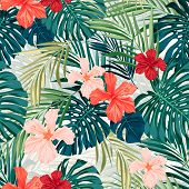 picture of jungle flowers  - Summer colorful hawaiian seamless pattern with tropical plants and hibiscus flowers - JPG