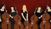 pic of cello  - Illustration of five female musicians playing cellos on red background - JPG