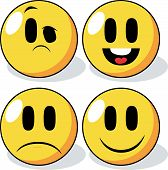 stock photo of angry smiley  - An icon set of four cartoon smiley faces - JPG