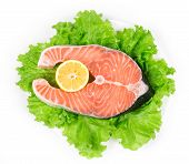 image of salmon steak  - fresh salmon steak - JPG