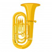 picture of wind instrument  - vector color flat design tuba wind instrument vector illustration white background - JPG