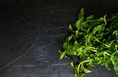 picture of basil leaves  - Leaves of green basil on black stone table - JPG