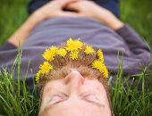 pic of tall grass  - a sleeping hipster lying in tall grass with dandelions in his epic beard taking a nap  - JPG