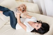 picture of yorkshire terrier  - Beautiful young brunette girl playing with her yorkshire terrier at home laying down at sofa and holding her pet - JPG