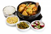 image of korean  - Boiled potatoes with chicken with spicy salads - JPG