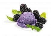stock photo of mints  - Berry ice cream scoop blackberries and mint isolated on white background - JPG