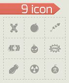 stock photo of nuclear bomb  - Vector Bomb icon set on grey background - JPG