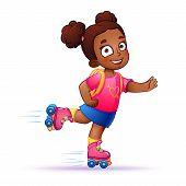 pic of dark-skin  - Little girl dark skin rides on roller skates - JPG