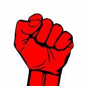 foto of striking  - Raised fist vector icon art hand protest graffiti strike fight - JPG