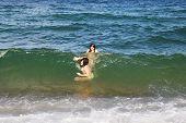 foto of ten years old  - Two Ten Year Old Girls Enjoys in the Beautiful Sea - JPG