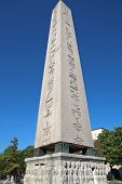 image of erection  - Obelisk Feodosiya- Ancient obelisk of Thutmose III, on the separation barrier erected by the Constantinople Hippodrome. Erected by Emperor Theodosius the Great Roman Empire in 390 AD ** Note: Soft Focus at 100%, best at smaller sizes - JPG