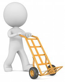 image of hand-barrow  - The dude 3D character with empty orange Hand Truck - JPG