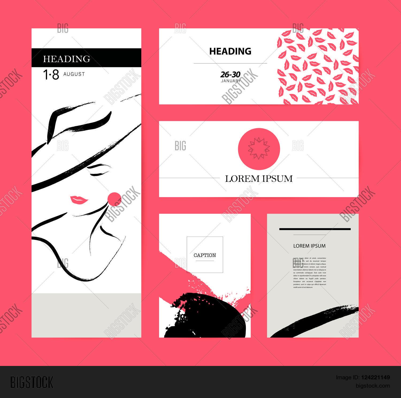 collection creative artistic cards vector photo