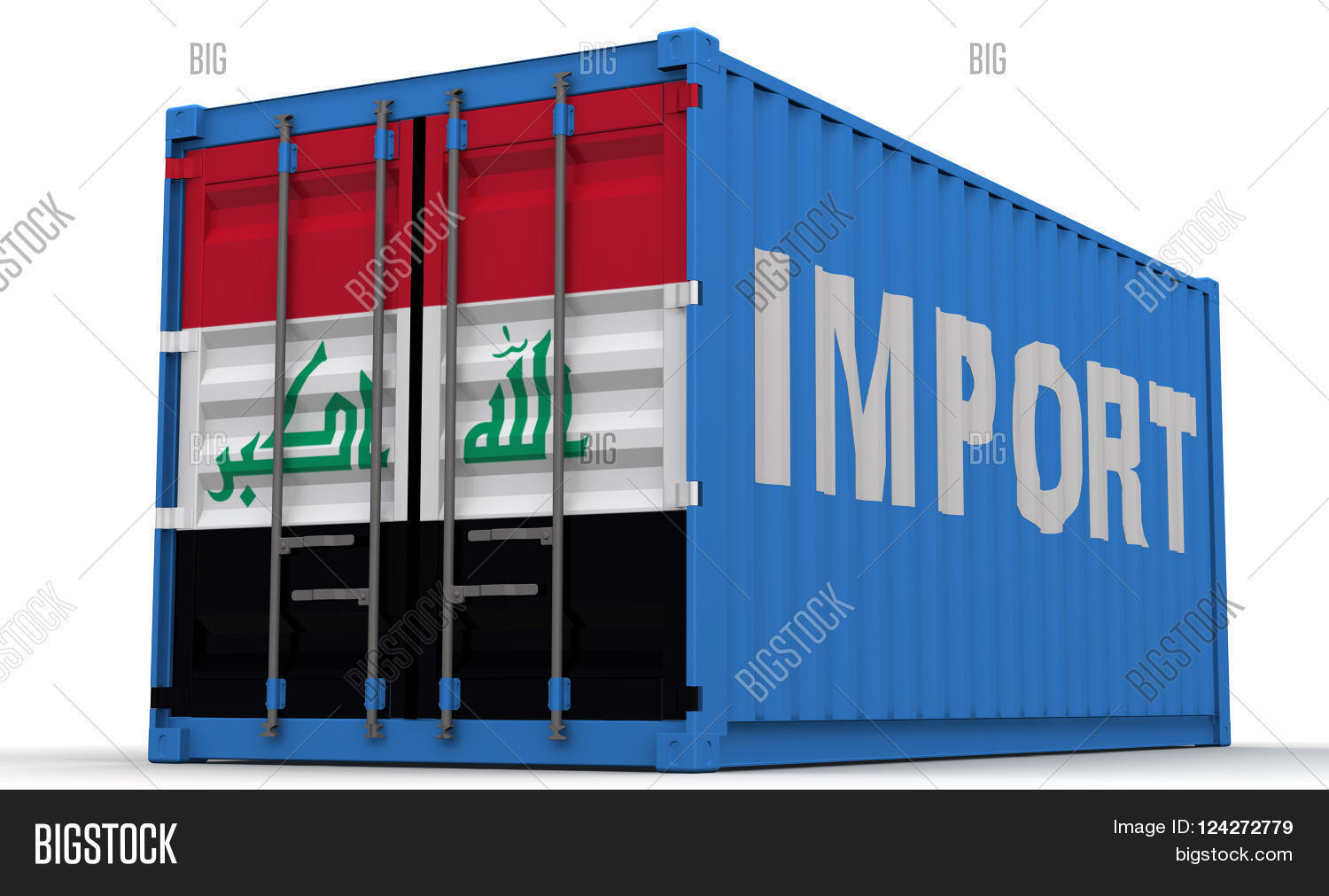 Iraq Import Freight Container On A White Surface With