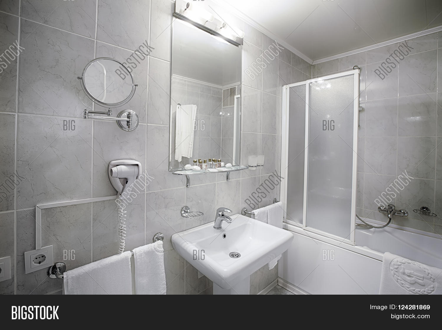 interior design of a hotel bathroom. hotel restroom interior
