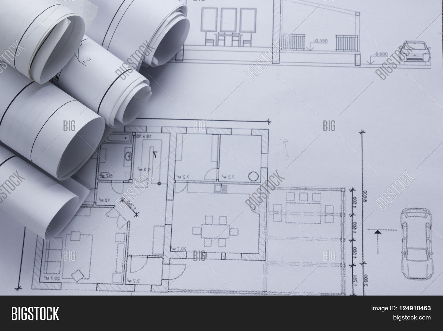 Architect worplace top view image photo bigstock for Architecture design blueprint