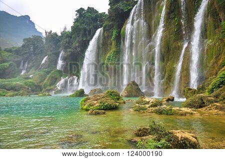 Beautiful waterfall is composed of a plurality of streams.