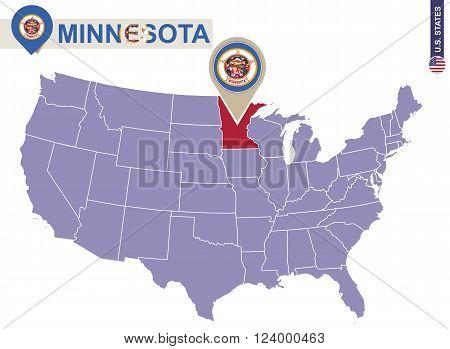 Minnesota State On Usa Map. Minnesota Flag And Map.