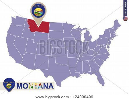 Montana State On Usa Map. Montana Flag And Map.