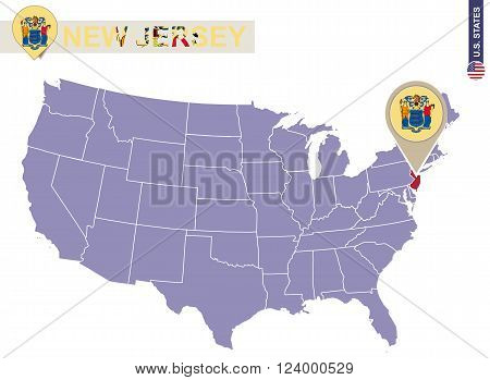 New Jersey State On Usa Map. New Jersey Flag And Map.