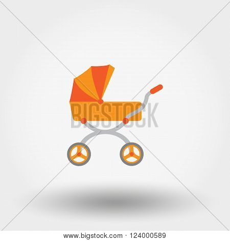 Baby carriage. Icon for web and mobile application. Vector illustration on a white background. Flat design style.