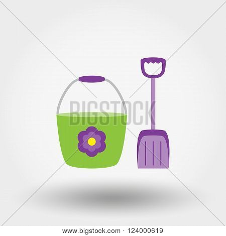 Bucket and shovel for the sandboxes. Icon for web and mobile application. Vector illustration on a white background. Flat design style.