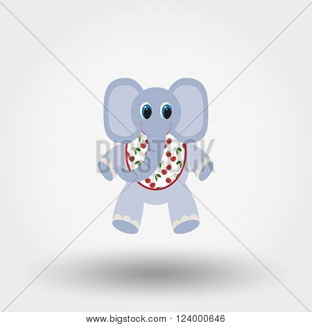 Elephant toy in the Bib. Icon for web and mobile application. Vector illustration on a white background. Flat design style.