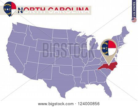 North Carolina State On Usa Map. North Carolina Flag And Map.