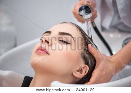 First step of beauty. Nice positive magnetic woman leaning on the sink while professional hairdresser washing her hair