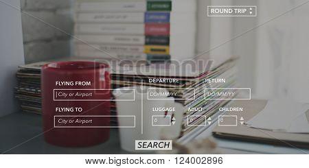 Booking Destination Departure Arrive Airport Concept