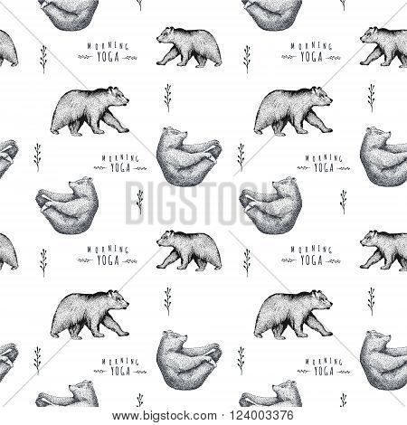 Seamless pattern of fun bear isolated on white background. Print posture of morning practice pranayama asana pose yoga. Spirit graphic character. Half-boat pose
