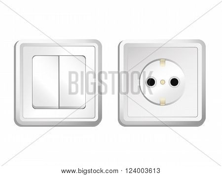 socket and switch - a set. vector illustration