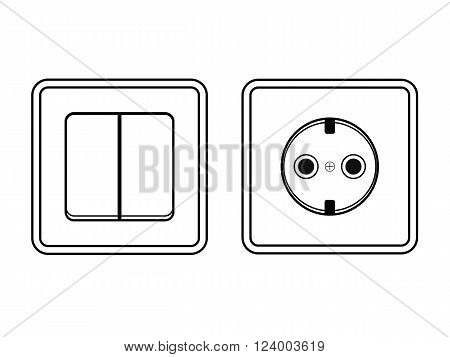 socket and switch - a silhouette. vector illustration