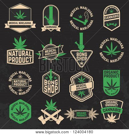 Set of cannabis marijuana bong shop labels badges and design elements. Medical marijuana. Cannabis icons. Bong icons. Vector design elements on grunge background.