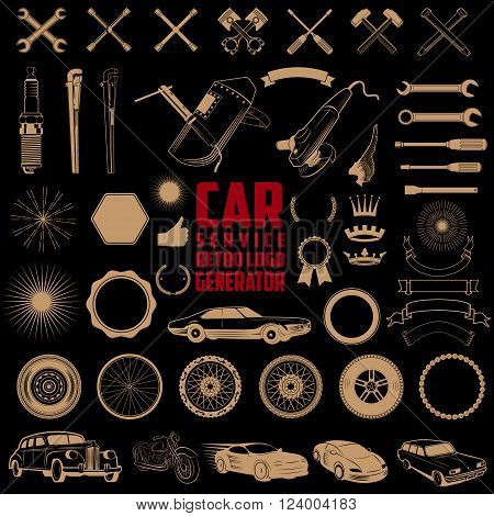 Car service logo generator. Set of design elements for car service car wash auto parts store car rental vintage cars store. Vector design elements isolated on black background..