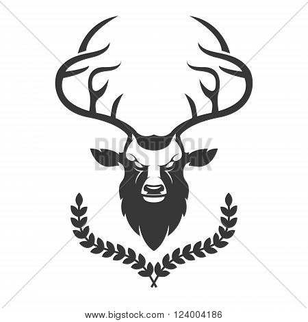 Deer head silhouette with wreath isolated on white background. Deer head emblem. Animal with horn. Deer logo template. Vector design element.