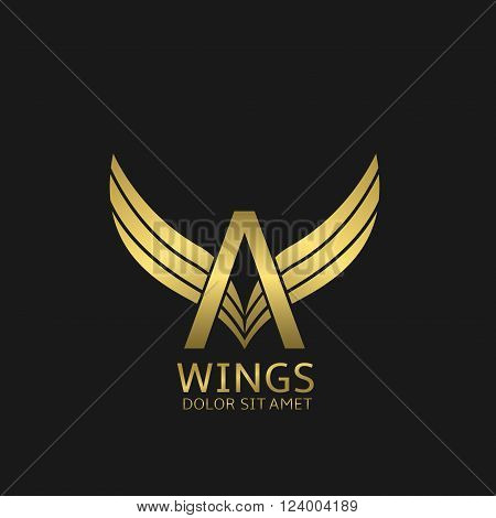 Golden A letter logo template with golden wings