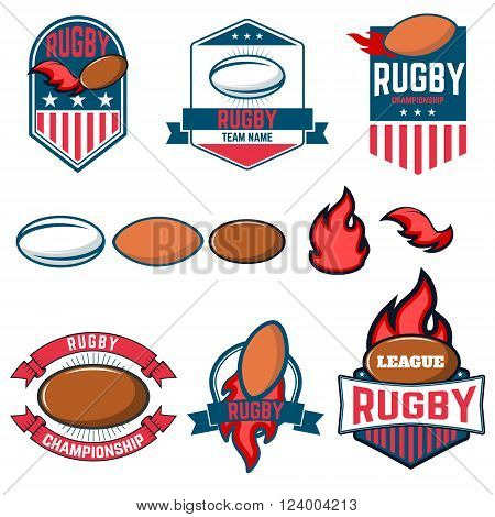 Rugby league. Rugby labels emblems and design elements. Rugby championship. Rugby icons. Vector design elements.