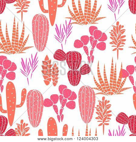 Succulents cacti plant vector seamless pattern. Botanical pink and rose desert flora fabric print. Home garden cartoon cactuses for wallpaper, curtain, tablecloth.