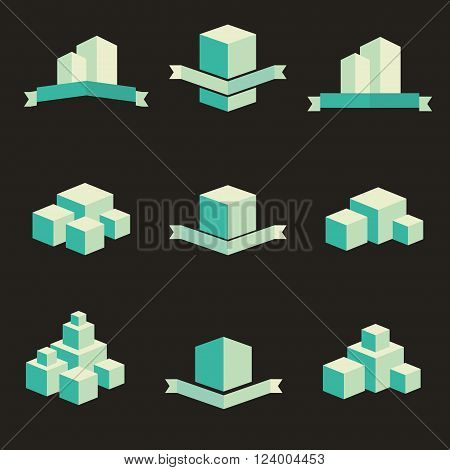 Building real state icons logo vector set