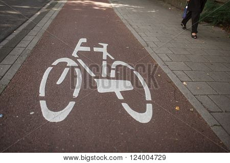 bike path and walk road at the city