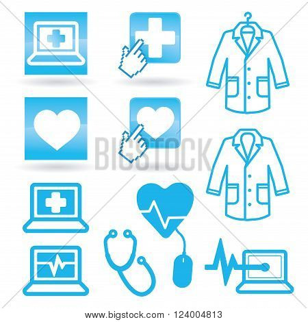 Set medical icons web vector health logo