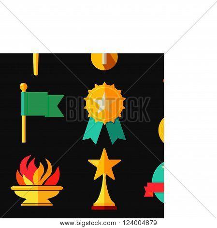 Award trophy sport illustration icons set vector
