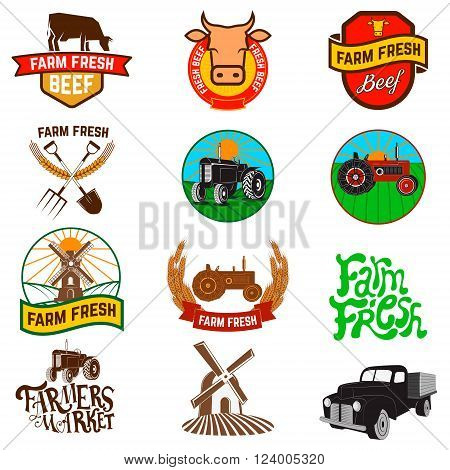 Set of farm fresh products labels emblems and design elements. Fresh beef. Farm fresh products. Tractor icons. Wind mill icons. Organic products.