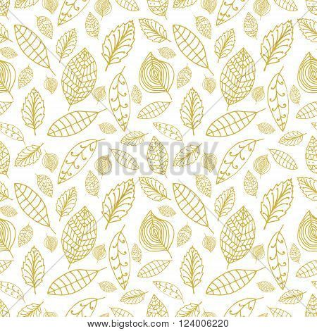 White and gold seamless pattern with leaves. Styles hand drawn leaves pattern. Vector design element.
