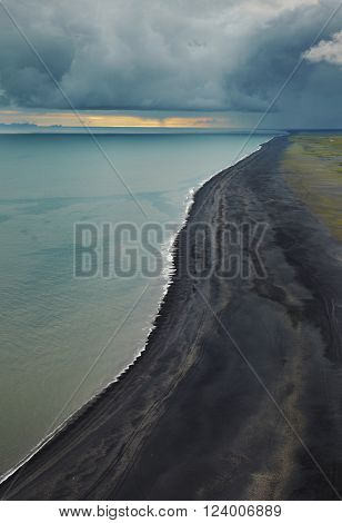 Black beach on the south part of Iceland