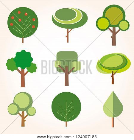 set of trees icons vector illustration flat