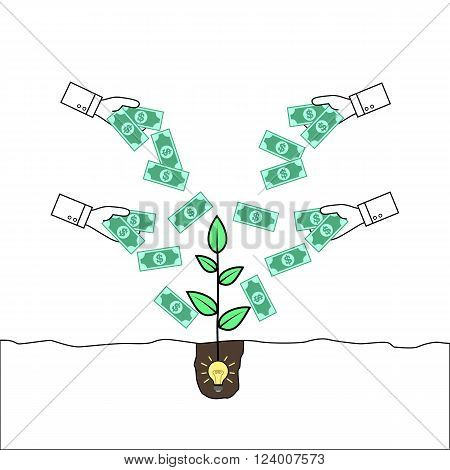 Hands giving money to a plant emerging from an idea bulb. Concept of crowd funding