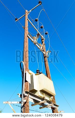In Oman The Electric Cable Wood Pylon